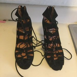 Jeffrey Campbell free People lace up heels